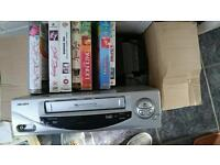 Bush vhs player with 25+ videos