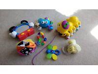 Toy bundle - Leapfrog caterpillar, Mickey music mirror, fisher price ball