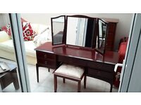 Stag minstral dressing table with stool and matching tallboy set of drawers
