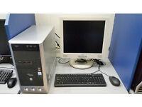 Fujitsu PC SET with 17'' monitor, Intel Core 2 DUO 1.86 GHz, 4GB RAM, 500GB HDD, DVD, Windows 7