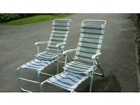 Two reclining garden chairs with foot rests, £30 for both ono
