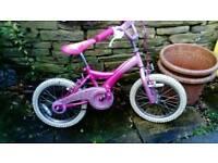 """Girls pink sparkly bike 16 """" wheels"""
