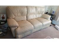 Three seater reclining sofa and a Two seater reclining sofa cream leather