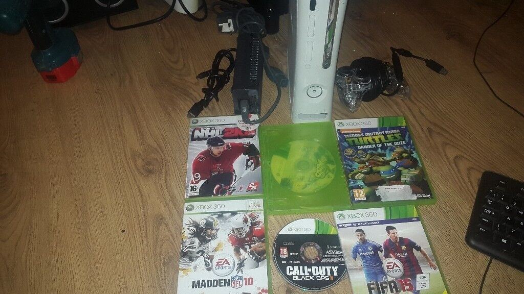 xbox 360 hdmi 120gb hardrive wired pad 6 games all leads