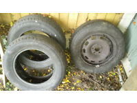 3x all weather tyres (195/65/R15, one on steel rim, two bare) taken off 2002 Seat Leon. £60 ONO