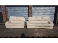 Nice cream leather sofa suite, 3+2 seater sofas, a bit of wear, can deliver