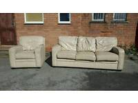 Great cream leather sofa suite. large 3 seater sofa and armchair .can deliver