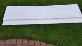 A white unused brand new bath side panel