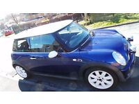 "Genuine MINI COOPER S 2002 - 1.6 SUPERCHARGED - 6 Speed Blue With White Roof 17"" White Alloy Wheels"