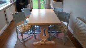 4-6 seater painted solid wood dining set - shabby chic, blue and white, Laura Ashley upholstery