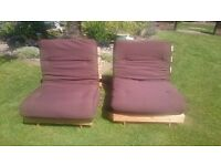 X2 KYOTO SINGLE FUTONS CHAIRBEDS OR WILL MAKE A DOUBLE SOFA OR DOUBLE BED PUSHED TOGETHER!