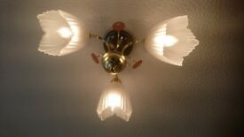 Pale pink flower ceiling light