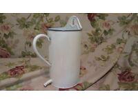 White French enamel flower pot water jug