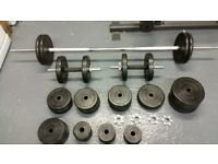 Barbell and dumbbells with weights