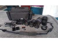 Olympus DSLR E-520 plus set of lenses plus Bag