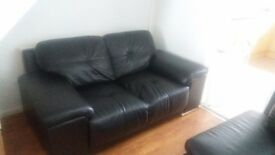 2 and 3 seater sofas black leather