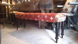 Vintage handmade kilim upholstered long bench on antique legs unique design bespoke surrey kilim