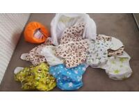 Birth to potty adjustable reusable nappies
