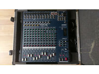 Yamaha MG166C-USB, 16 channel mixing desk and flight case