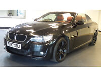 2007 57 BMW 320I M SPORT CONVERTIBLE BLACK RED LEATHER (PART EX WELCOME)***FINANCE AVAILABLE***