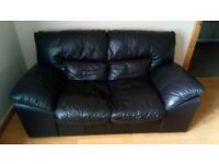2 two seater dark brown leather sofas