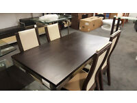 Oak Dining Table With Nickel Legs & Chairs