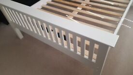 NEW WHITE king size bed solid pine (Julian Bowen brand) high foot end