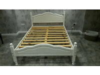 Shabby Chic Chalk White Pine Solid Double bed frame - Needs gone ASAP