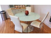 GLASS TOPPED DINING TABLE WITH 4 LEATHER CHAIRS