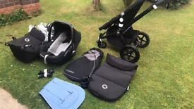 Bugaboo chameleon all black with maxi cosi travel system and all accessories