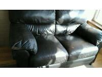 Two setter settee in real leather