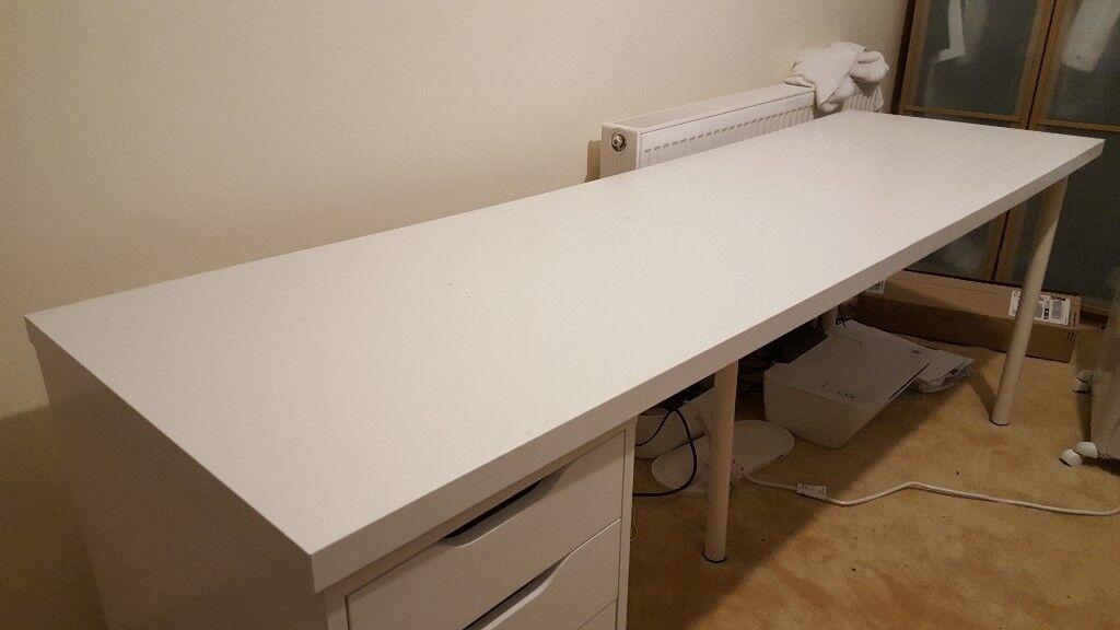 Groovy White Desk 2 Metres With Drawers Ikea Alex Linmon Table In Beeston West Yorkshire Gumtree Download Free Architecture Designs Oxytwazosbritishbridgeorg