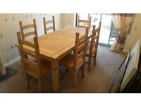 Corona Pine Dining table with 6 chairs