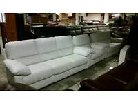 White leather 3 & 2 seater sofa with chair