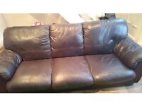 Dark brown 3 seater leather sofa usal wear and tear pick up only heaton norris stockport £20