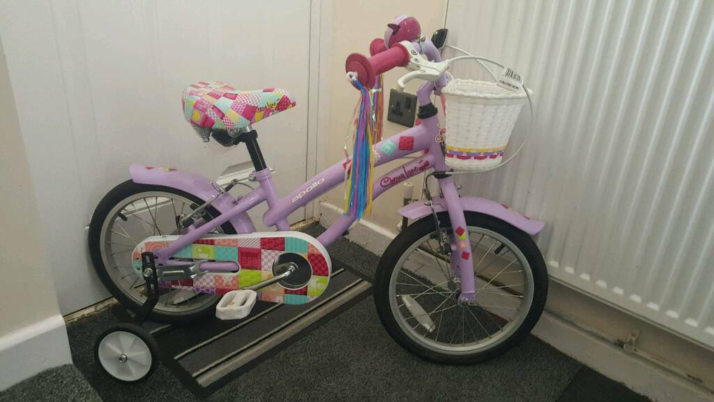 Girls bikein North Shields, Tyne and WearGumtree - Apollo 16in girls cherry lane bike, immaculate condition as hardly used. comes with stabilisers and helmet. Still selling in halfords