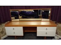 Oak effect dressing table. 4 white drawers with crystal handles.