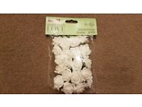 White Wired Rose Heads 20 Pack x 2
