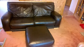 Leather double sofa with footstool - dark brown