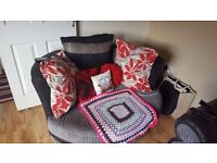 Large two seater sofa and swivel chair