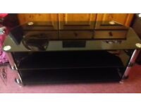Matching Black Glass Tv Unit & Table