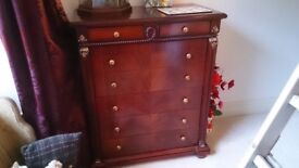 Chest of drawers, dressing table,mirror and stool