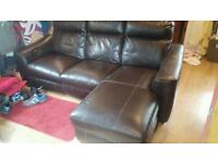 Leather Chaise Sofa. Electric recliner, 3 seater