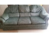 Green 3 seater sofa & storage footstool for sale