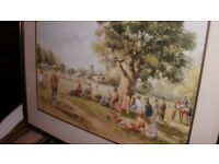 artis/DOUGLAS.E.WEST/good framed mounted decorative print the cricket match on village green
