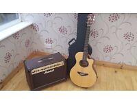 Yamaha APX guitar and Marshall 50watt amplifier. £400