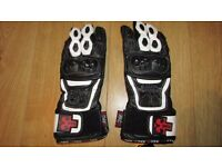 Rac3 Black & White Leather Race Motorcycle Gloves Brand New with Labels Size S