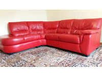 Corner sofa for sale. red leather, in really good condition. selling couse moving house.
