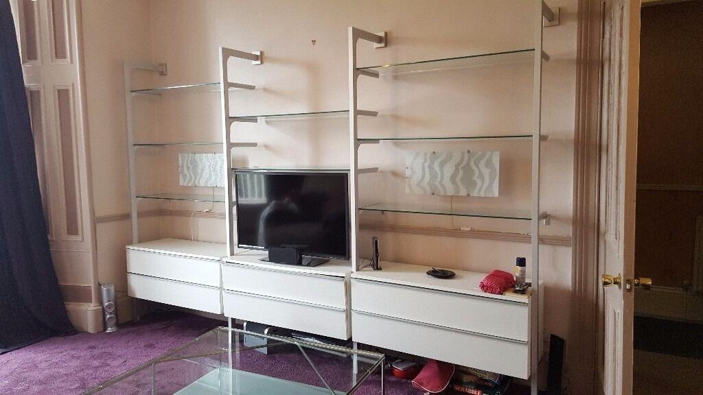 Ikea Anga Unit White Glass And Brushed Chrome Living