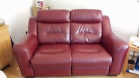 Leather large 2 seater sofa and 2 chairs